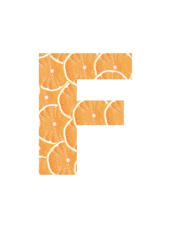 Letter of the alphabet cropped from slices of orange Stock Photo - 10011248