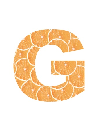 Letter of the alphabet cropped from slices of orange photo