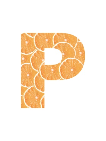 cropped: Letter of the alphabet cropped from slices of orange Stock Photo