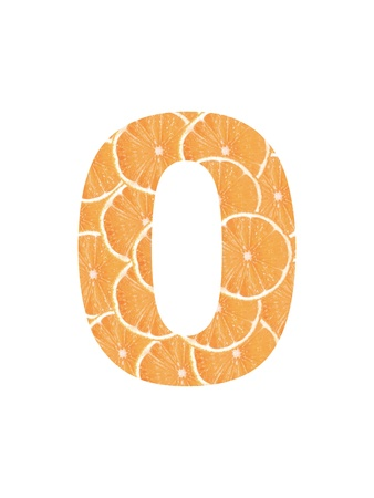 Numbers cropped from slices of fresh orange photo