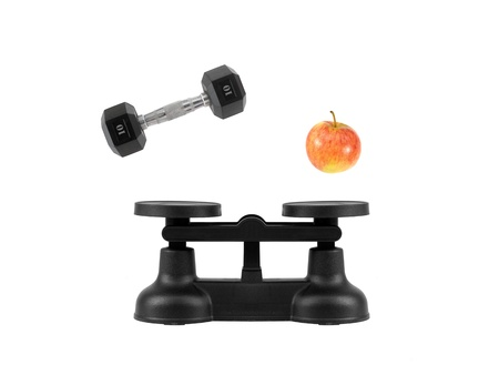 counterpoise: Kitchen balance scales isolated against a white background Stock Photo