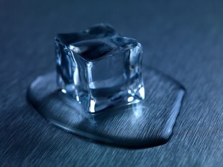 kitchen bench: Frozen ice cubes isolated on a kitchen bench