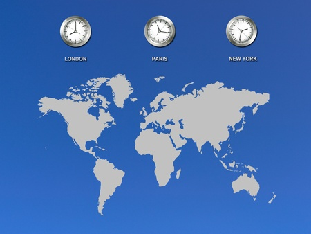 time zone: An illustration of a world map with clocks