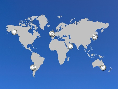An illustration of a world map with clocks illustration
