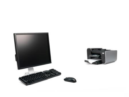 白い背景に対して隔離されたデスクトップ コンピューター 写真素材