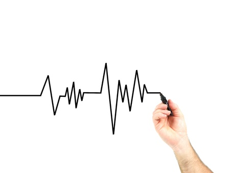 a heart rate graph isolated against a white background Stock Photo - 10358825