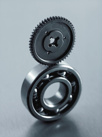Industrial components  isolated against a silver background photo