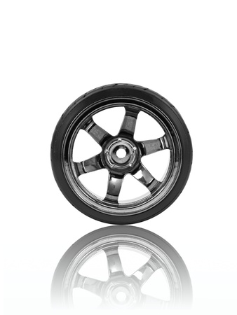 Rubber tyres with sports rims on a white background Stock Photo - 10485983