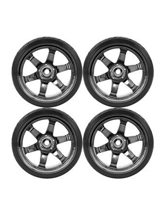 Rubber tyres with sports rims on a white background Stock Photo - 10488243