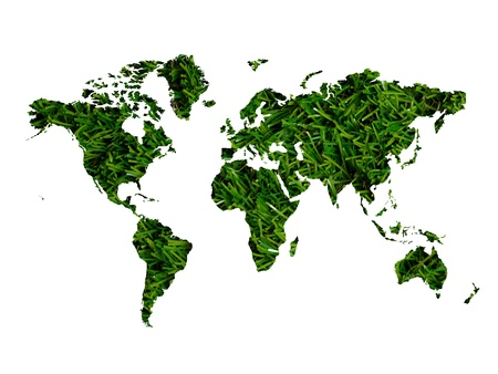 An illustration of a world map cutout of grass illustration