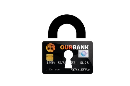A conceptual credit card security image on white photo