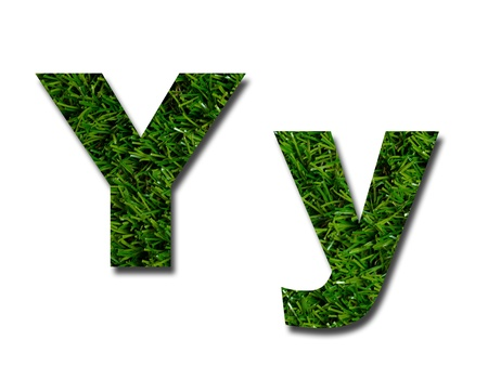 lower: Cutout letters of the alphabet made from grass