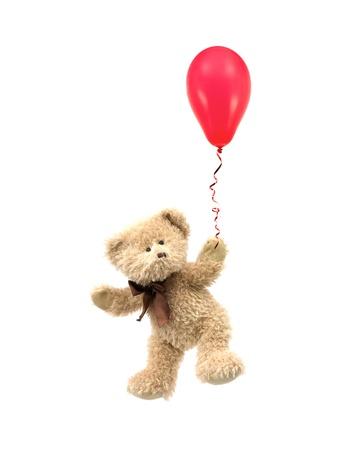Ein Teddybär vor einem weißen Hintergrund isoliert