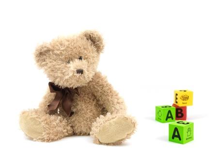 teddybear: A teddy bear isolated against a white background Stock Photo