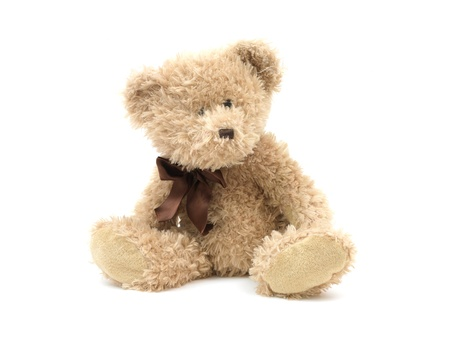 toy bear: A teddy bear isolated against a white background Stock Photo