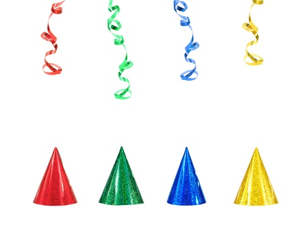 Party hats isolated against a white background Stock Photo - 10656007