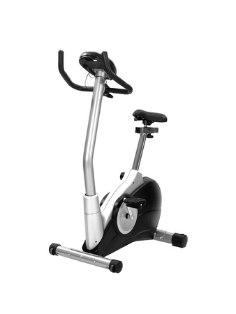An exercise bike isolated against a white background