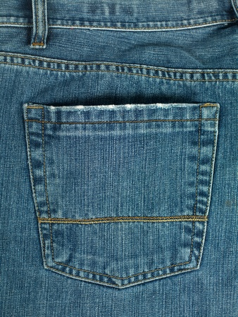 A denium blue jean pocket shot up close