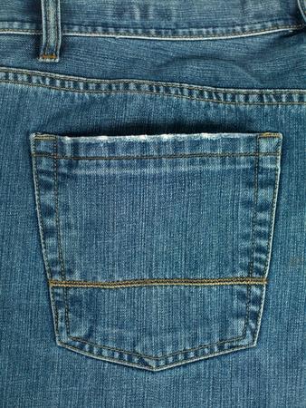 A denium blue jean pocket shot up close