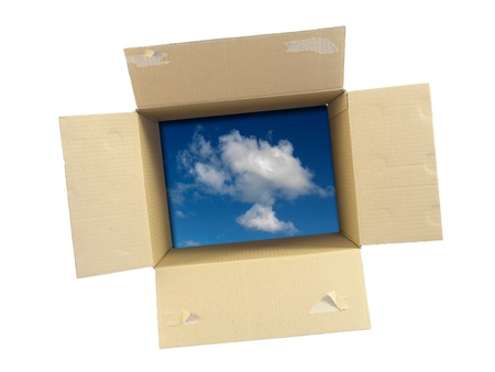 Les boîtes en carton isolé sur un fond blanc