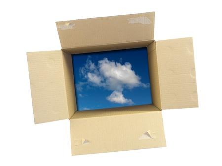 Les boîtes en carton isolé sur un fond blanc Banque d'images