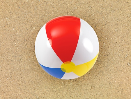 colourful ball: A conceptual beach image with assorted beach items Stock Photo