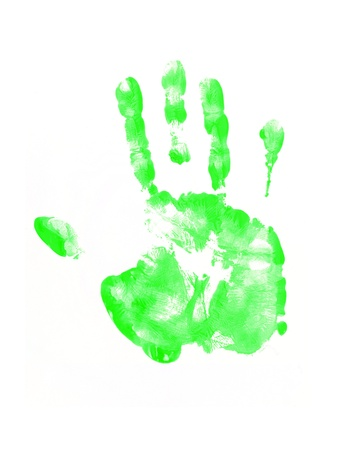 Feet and hand prints on a white background photo