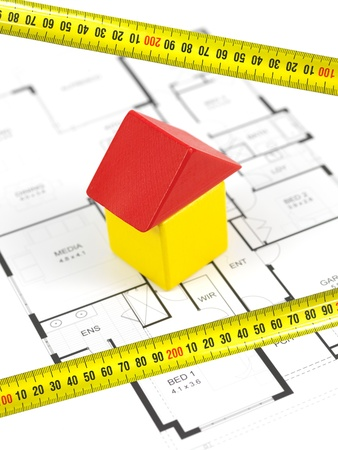 House plans isolated against a white background photo