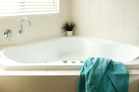 Images of a modern bathroom taken with natural light photo