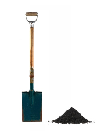 A garden shovel isolated against a white background photo