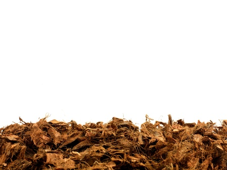 mulch: Garden wood chip mulch isolated against a white background Stock Photo