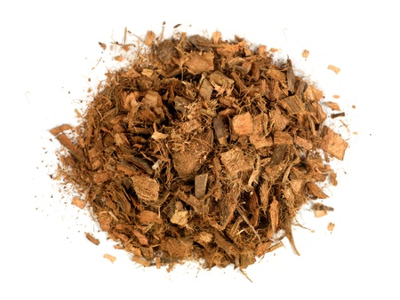 bark mulch: Garden wood chip mulch isolated against a white background Stock Photo