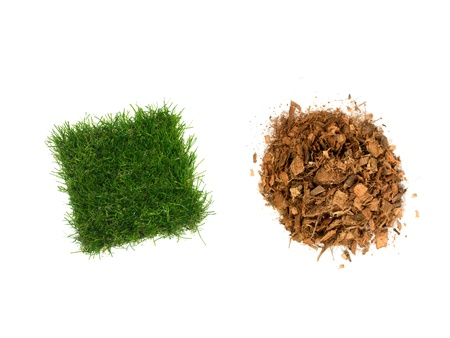 Garden wood chip mulch isolated against a white background Stock Photo - 11932704