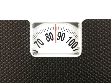 A conceptual dieting image using bathroom scales photo