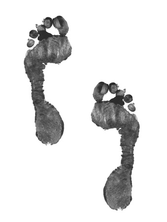 Foot prints on a white background photo