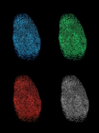 Finger prints isolated on a black background photo