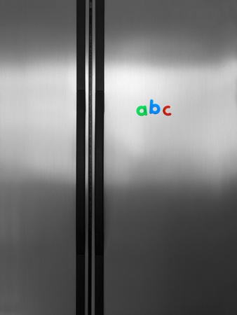 A modern duel stainless steel kitchen fridge photo