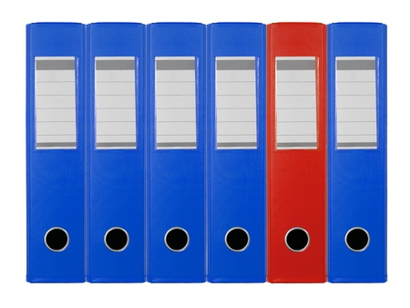 disorganization: A4 ring binder files isolated against a white background
