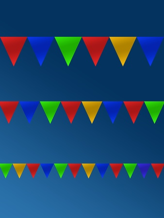 Bunting flags isolated against a blue sky photo