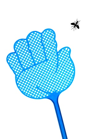 down beat: A fly swat isolated against a white background Stock Photo