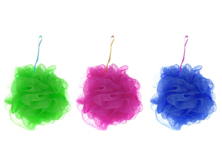 scrubber: A shower scrubber isolated against a white background Stock Photo