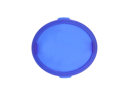 blue white kitchen: Plastic food containers isolated against a white background Stock Photo