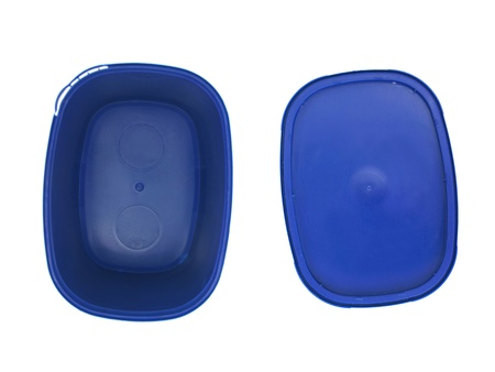 Plastic food containers isolated against a white background photo