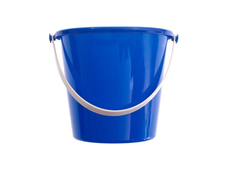 A toy bucket and spade set  isolated against a white background Stock Photo