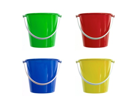 A toy bucket and spade set  isolated against a white background Standard-Bild