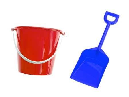 A toy bucket and spade set  isolated against a white background Imagens