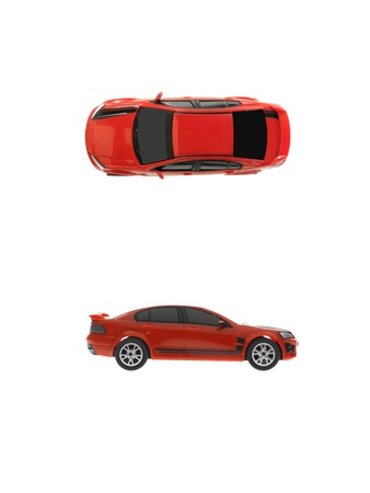 top  model: A toy sports car isolated against a white background