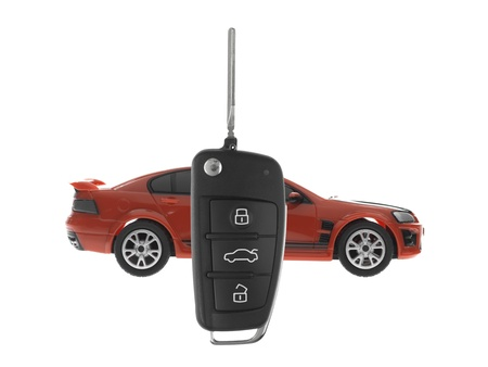 A toy sports car key isolated against a white background Stock Photo - 13657105