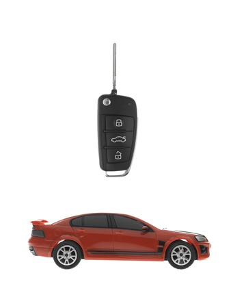 A toy sports car key isolated against a white background Stock Photo - 13657052