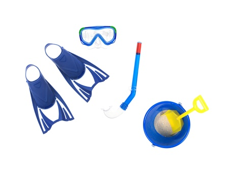 snorkle: Swimming gear isolated against a white background